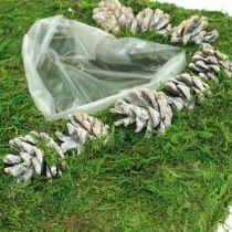 Kasvityyny Sydän sammalta ja käpyjä Valkoinen pesty 25×25cm