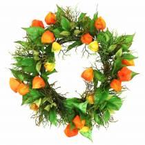Physalis seppele keinotekoinen oranssi, vihreä Ø28cm syksyn koristelu