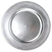 Muovilevy 25cm hopeaa, hopealehtinen