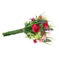 Ranunculus-kimppu rypäleen hyasintteilla Vaaleanpunainen 25cm