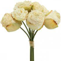 Keinotekoisia ruusuja, silkkikukkia, ruusu nippu kerma valkoinen L23cm 8kpl