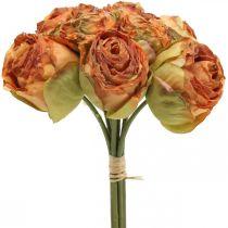 Ruusu nippu, silkkikukat, keinotekoisia ruusuja oranssi, antiikki näyttää L23cm 8kpl 8cm
