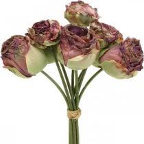 Ruusut antiikki vaaleanpunainen, silkkikukat, tekokukat L23cm 8kpl 8kpl