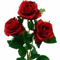 Punainen ruusu keinotekoiset ruusut silkkikukat 3kpl
