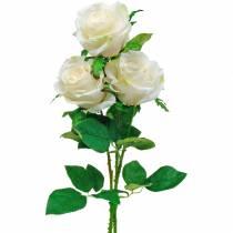 Valkoinen ruusu varrella, silkkikukka, tekoruusu 3kpl