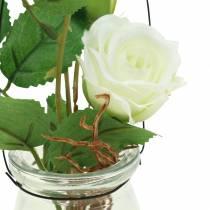 Ruusu lasivalkoisena H23cm