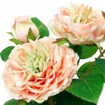 Koristeellinen ruusu ruukussa, romanttiset silkkikukat, vaaleanpunainen pioni