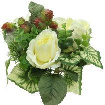 Ruusu- / hydrangea-kimppu valkoinen marjoilla 31cm