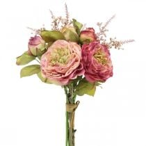 Ruusut silkkikukkia nipussa syksyn kimppu vaaleanpunainen, violetti H36cm