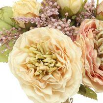 Ruusut keinotekoisia kukkia nipussa syksyn kimppu kerma, vaaleanpunainen H36cm
