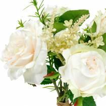 Kimppu keinotekoisia ruusuja, kermaiset silkkikukat kimppuna