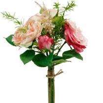 Kimppu keinotekoisia ruusuja kimppu vaaleanpunaisia silkkikukkakimppuja