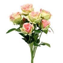Ruusupensas keinotekoinen vihreä, vaaleanpunainen 55cm