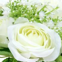 Ruusukimppu gypsophila-valkoisella 26cm