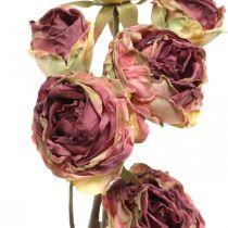 Keinotekoinen ruusu, pöydän koristelu, keinotekoinen kukka vaaleanpunainen, ruusun oksa antiikki näyttää L53cm