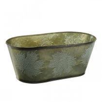 Syksyn istutin kulho, metallinen deko lehtien koristeluun vihreällä L38cm H15cm