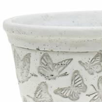 Istutusastia valkoinen perhosilla 17cm x 12cm K8cm 2kpl