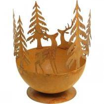 Metallinen kulho peuralla, metsäkoriste adventtiin, koristeellinen purkki Rust Ø25cm H29cm