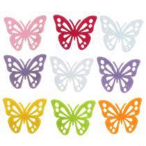 Huopa perhospöydän koristelu valikoima 3,5 × 4,5 cm 54 kappaletta eri värejä