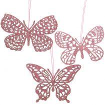 Koristelista ripustin perhonen vaaleanpunainen kimallus10cm 6kpl