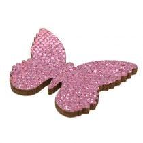 Ripottele koriste perhonen vaaleanpunainen kimallus 5/4 / 3cm 24kpl