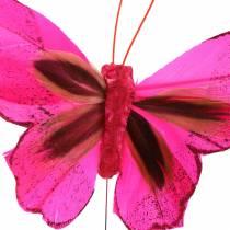 Sulka perhonen langalla 7cm vaaleanpunainen lila 24kpl