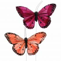 Sulka perhonen langanvärisellä lohella ja purppuralla 10cm 12 kpl