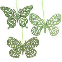 Koristelista ripustin perhonen vihreä kimallus8cm 12kpl