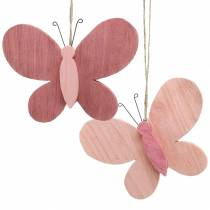 Perhonen ripustettavaksi puu vaaleanpunainen 13cm x 22cm 2kpl