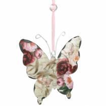 Perhonen roikkuu metallia Deco ripustin 9cm kevät koristelu 6kpl