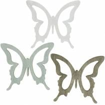 Perhonen hajotukseen 4cm Ruskea, Vaaleanharmaa, Valkoinen Kesän hajotus koriste puu 72kpl