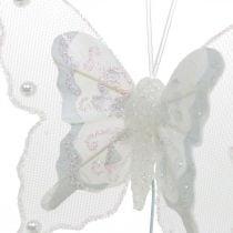Perhoset helmet ja Glimmer, häät koristelu, Feather Butterfly on Wire White