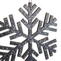Lumihiutale harmaa ripustettavaksi Ø8cm - Ø12cm 9kpl