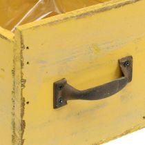 Deco laatikko vintage kasviastia puu keltainen 12,5×12,5×11cm