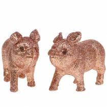Koristeellinen sika kimallus vaaleanpunainen 10cm 8kpl