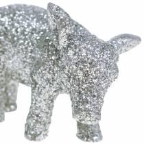 Koristeellinen sika uudenvuodenaaton koriste hopea kimallus 3,5 cm 2kpl