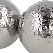 Kelluvat pallokukat hopeametalli Ø5.5cm, valikoituja 6kpl