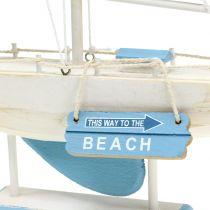 Koristeellinen purjevene puusta sinistä, valkoista H41.5cm