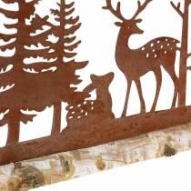 Metsän siluetti eläimillä ruostumatonta terästä puualustalla 57cm x 25cm