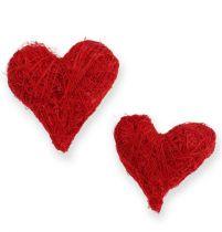 Sisal sydämet 5-6 cm punainen 24kpl
