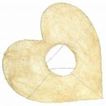 Sisal-hihan sydän valkaistu 25,5 cm 10 kpl
