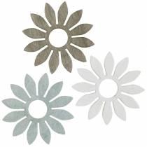 Kesäkukat puiset koristeet kukat ruskea, vaaleanharmaa, valkoinen hajonta koristelu 72kpl