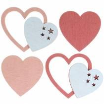 Hajotetut sydämet vaaleanpunainen / valkoinen 24kpl