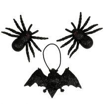 Hämähäkki, lepakkohahmot musta 10cm, 14cm 3kpl