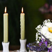Tikkukynttilä Vihreä värillinen Läpivaha kynttilät 180mm/Ø21mm 6kpl.