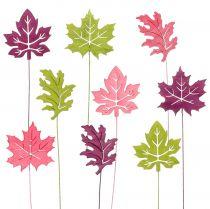 Koriste-tikut lehti vaaleanpunainen, vihreä, bordeaux 8cm 18kpl