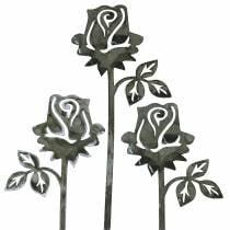 Metallineula ruusunhopeanharmaa, valkoiseksi pesty metalli 20cm × 8cm 12kpl