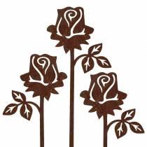Metallitulppa ruusu ruosteinen metalli 20cm × 8cm 12kpl