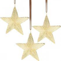 Tähdet ripustettavaksi, metallinen koriste, joulukuusen koriste Kultainen 9,5×9,5cm 3kpl.
