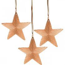 Tähtiriipus, joulukoriste, metallikoriste kuparin värinen 9,5×9,5cm 3kpl.